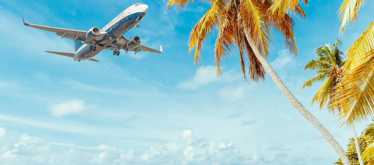 Intellectual property barrister Mark Engelman. Travel. Airplane preparing to land at beach destination.